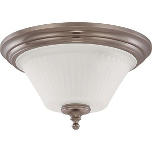 "Teller Collection 3-Light 15"" Aged Pewter Flush Mount with Frosted Etched Glass 60-4022"