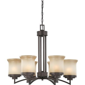"Harmony Collection 6-Light 21"" Dark Chocolate Bronze Chandelier with Saffron Glass 60-4125"