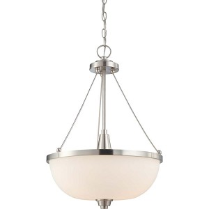 "Helium Collection 3-Light 24"" Brushed Nickel Pendant with Satin White Glass 60-4187"