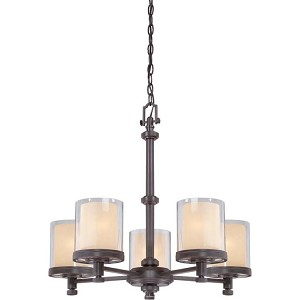 "Decker Collection 5-Light 23"" Sudbury Bronze Chandelier with Clear Outer / Cream Inner Glass 60-4545"