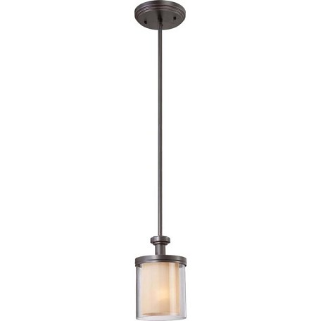 "Decker Collection 1-Light 34"" Sudbury Bronze Mini Pendant with Clear Outer / Cream Inner Glass 60-4548"