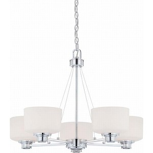 "Soho Collection 5-Light 20"" Polished Chrome Chandelier with Satin White Glass 60-4585"