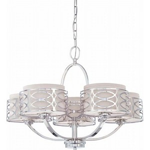 "Harlow Collection 5-Light 20"" Polished Nickel Chandelier with Slate Gray Fabric Shades 60-4625"