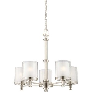 "Decker Collection 5-Light 23"" Brushed Nickel Chandelier with Clear Outer / Frosted Inner Glass 60-4645"
