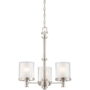 "Decker Collection 3-Light 23"" Brushed Nickel Chandelier with Clear Outer / Frosted Inner Glass 60-4647"