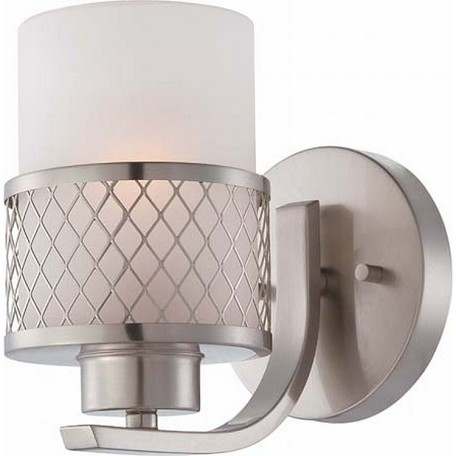 "Fusion Collection 1-Light 5"" Brushed Nickel Wall Sconce with Frosted Glass 60-4681"