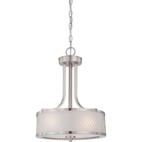 "Fusion Collection 3-Light 19"" Brushed Nickel Pendant with Frosted Glass 60-4686"