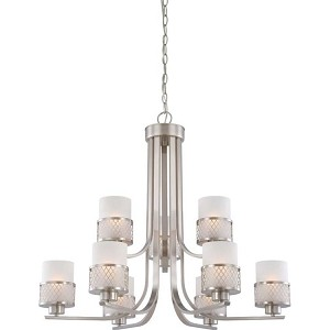 "Fusion Collection 9-Light 27"" Brushed Nickel Chandelier with Frosted Glass 60-4689"