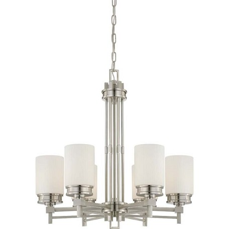 "Wright Collection 6-Light 28"" Brushed Nickel Chandelier with Satin White Glass 60-4705"