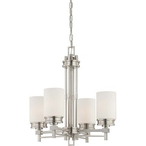 "Wright Collection 4-Light 25"" Brushed Nickel Chandelier with Satin White Glass 60-4707"