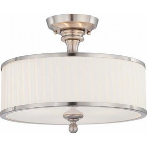"Candice Collection 3-Light 15"" Brushed Nickel Semi-Flush Mount with Flat Pleated White Fabric Shade 60-4737"
