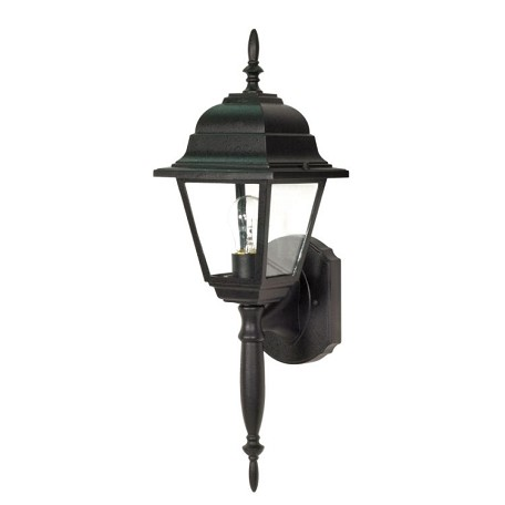 "Briton Collection 1-Light 18"" Textured Black Outdoor Wall Light with Clear Glass 60-542"