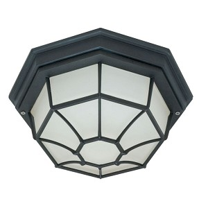 "Nuvo Collection 1-Light 0"" Textured Black Outdoor Ceiling Light with Frosted Glass 60-580"