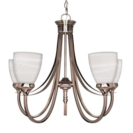 "Triumph Collection 5-Light 21"" Brushed Nickel Chandelier with Sculptured Alabaster Glass 60-585"