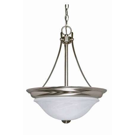 "Triumph Collection 2-Light 20"" Brushed Nickel Pendant with Sculptured Alabaster Glass 60-590"