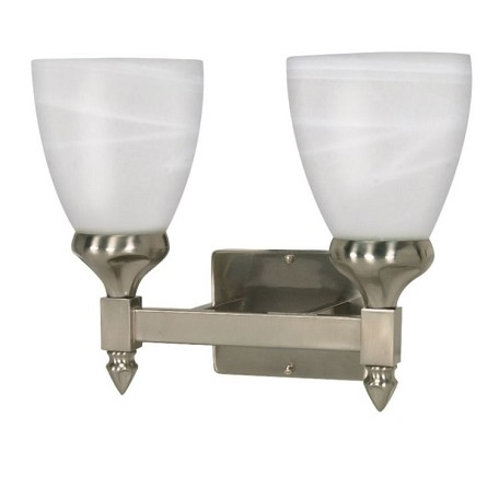 "Triumph Collection 2-Light 10"" Brushed Nickel Vanity with Sculptured Alabaster Glass 60-592"