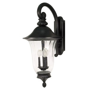 "Parisian Collection 3-Light 12"" Textured Black Outdoor Wall Light with Fluted Seed Glass 60-980"