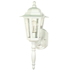 "Cornerstone Collection 1-Light 18"" White Outdoor Wall Light with Clear Seed Glass 60-985"