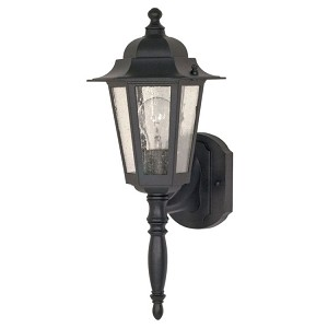 "Cornerstone Collection 1-Light 18"" Textured Black Outdoor Wall Light with Clear Seed Glass 60-987"