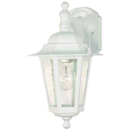 "Cornerstone Collection 1-Light 13"" White Outdoor Wall Light with Clear Seed Glass 60-988"