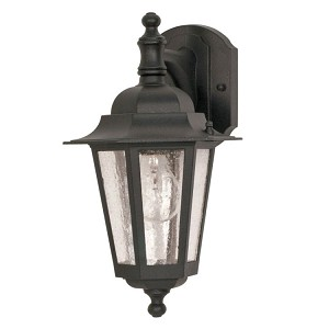 "Cornerstone Collection 1-Light 13"" Textured Black Outdoor Wall Light with Clear Seed Glass 60-990"