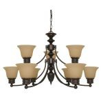 "Empire Collection 9-Light 18"" Mahogany Bronze Chandelier with Champagne Washed Linen Glass 60-1275"