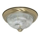 "Nuvo Collection 2-Light 4"" Antique Brass Flush Mount with Clear Swirl Glass 60-229"