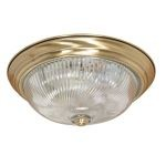 "Nuvo Collection 3-Light 5"" Antique Brass Flush Mount with Clear Swirl Glass 60-231"