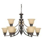 "Empire Collection 9-Light 18"" Mahogany Bronze Chandelier with Champagne Washed Linen Glass 60-3131"