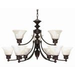 "Empire Collection 9-Light 18"" Old Bronze Chandelier with Alabaster Bell Glass 60-362"