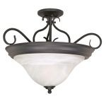 "Castillo Collection 3-Light 15"" Textured Black Semi-Flush Mount with Alabaster Swirl Glass 60-384"
