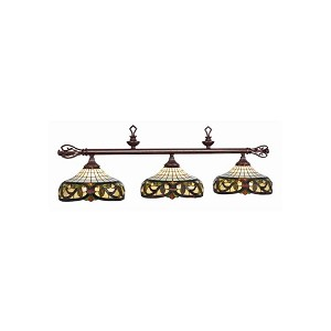 "Harmony Collection 3-Light 60"" Billiard Fixture with Stained Glass 34-B60"