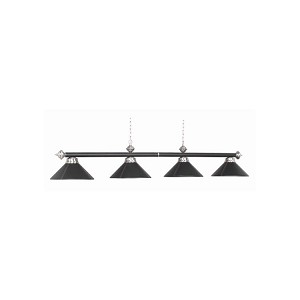 "Leather Collection 4-Light 78"" Black Leather Billiard Fixture with Stainless Accents B78-LTHR BLK"
