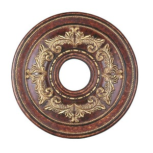 "Livex Lighting 18"" Verona Bronze Ceiling Medallion with Aged Gold Leaf Accents 8205-63"