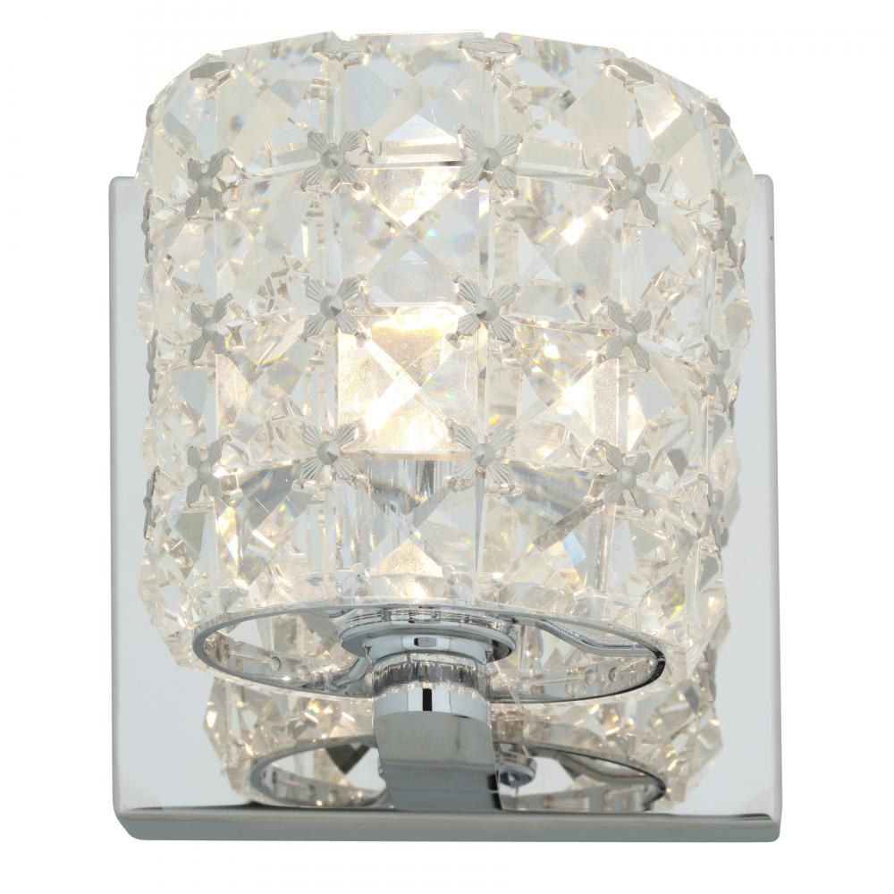 Access chrome clear crystal prizm 1 light bathroom sconce chrome 23920 ch ccl from prizm for Crystal bathroom vanity sconces
