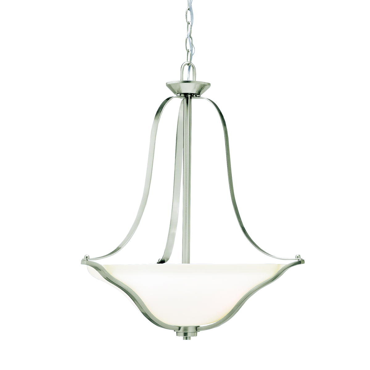Kichler Brushed Nickel Langford 3-Bulb Indoor Pendant With Bowl-Shaped Glass Shade
