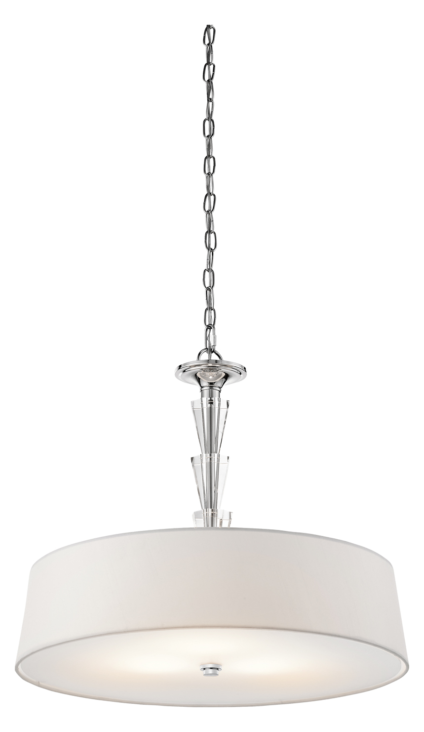Kichler Chrome Crystal Persuasion 3-Bulb Indoor Pendant With Tapered Fabric Shade