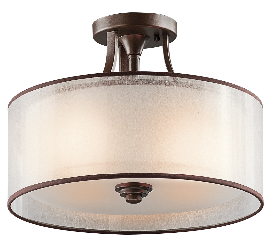 Kichler Three Light Mission Bronze Drum Shade Semi-Flush Mount