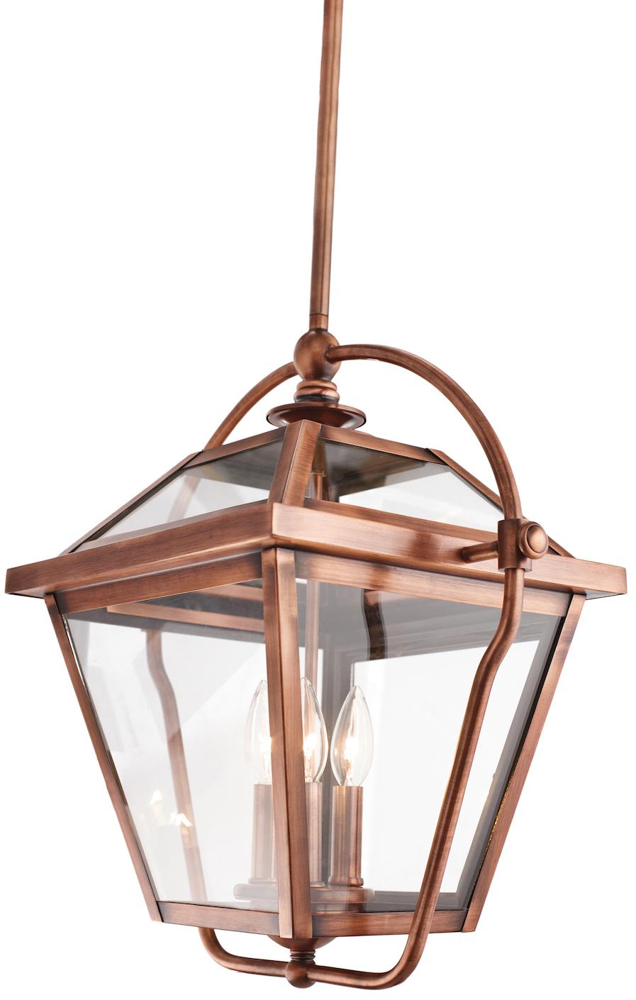 Kichler Antique Copper Ryegate 3 Bulb Indoor Pendant With