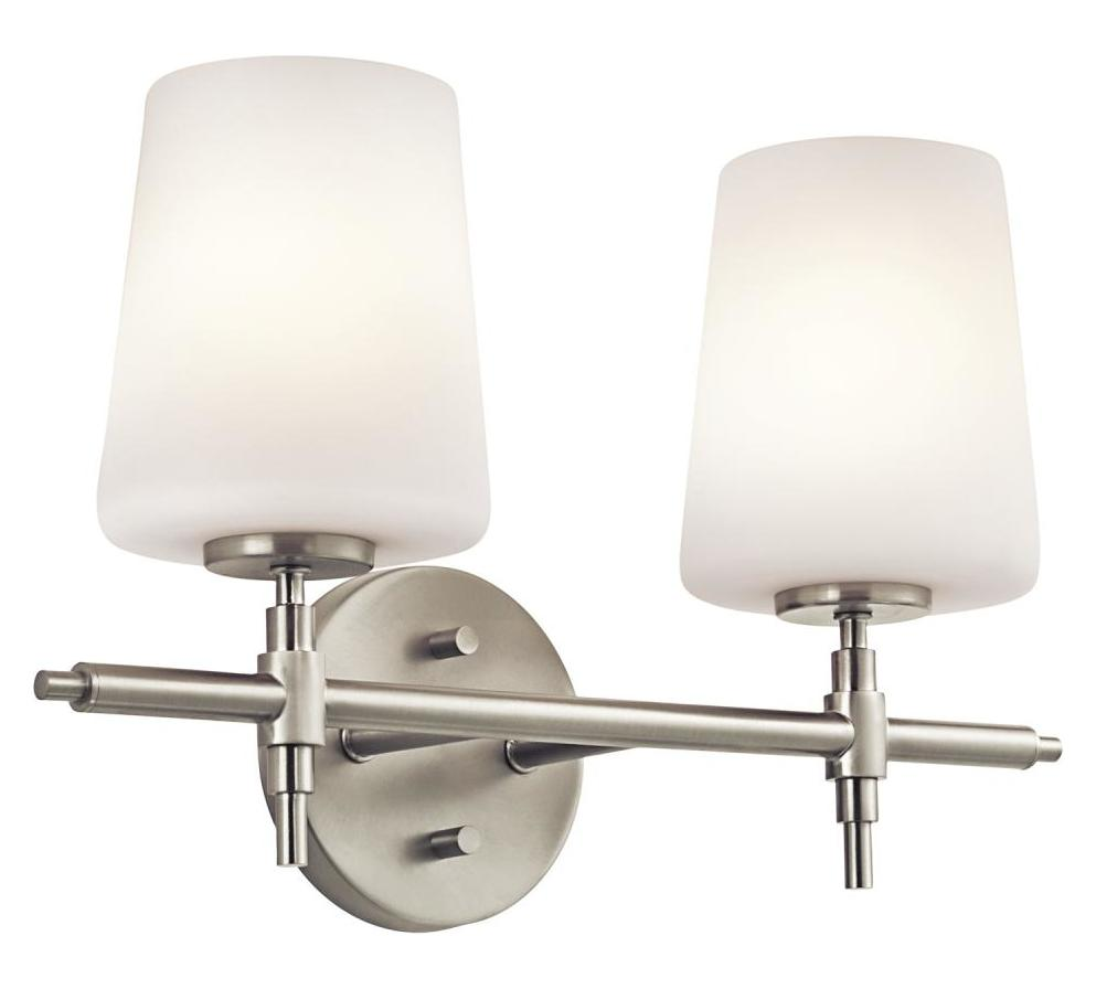 Kichler kichler 45386ni brushed nickel arvella 16 wide 2 for Brushed nickel bathroom lighting fixtures