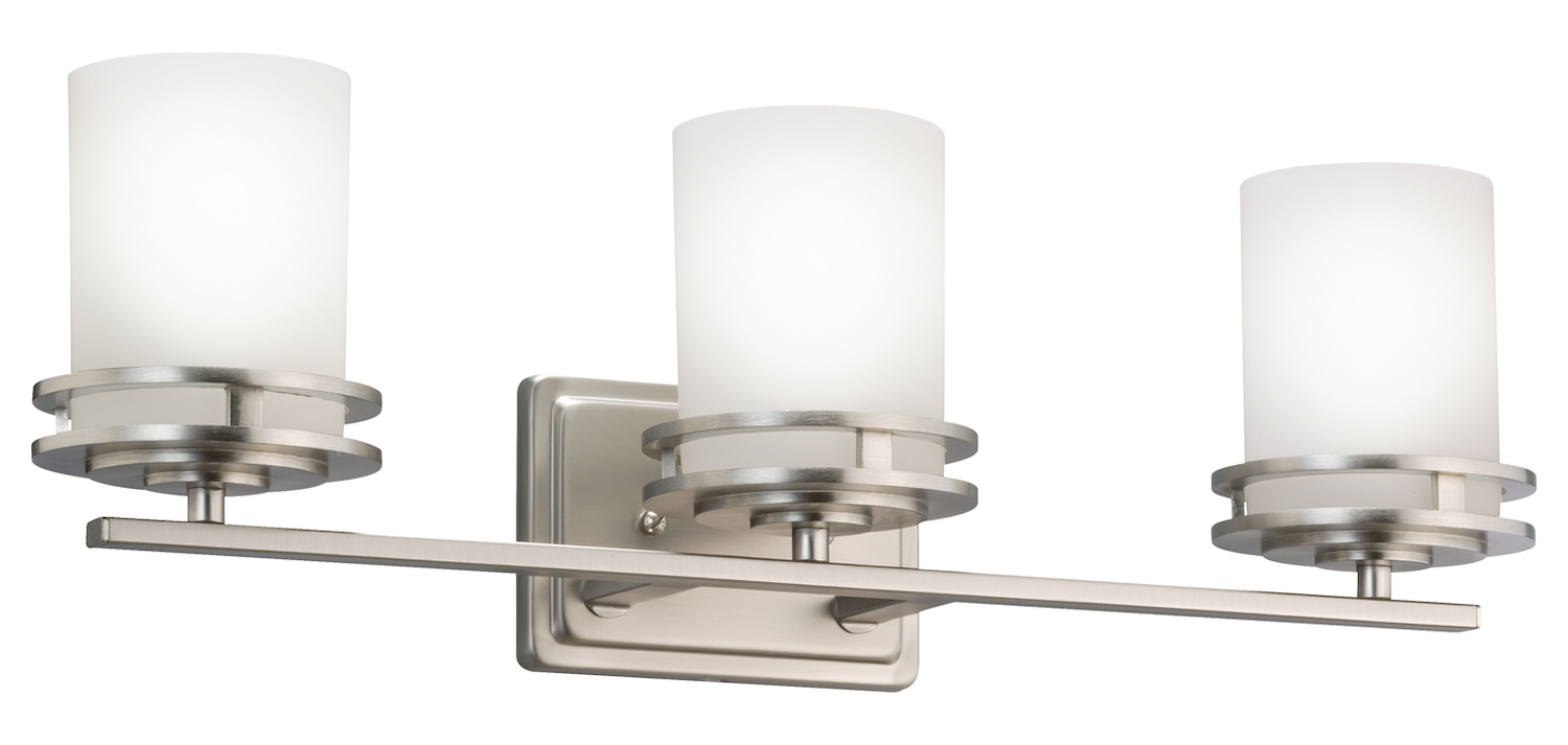 Kichler Brushed Nickel Hendrik 24In. Wide 3-Bulb Bathroom Lighting Fixture
