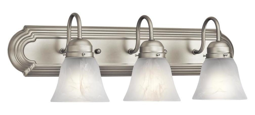 "Bathroom Vanity 3 Light Fixture Brushed Nickel Bell Wall: Kichler Open Box Brushed Nickel Bath & Vanity 24"" Wide 3"
