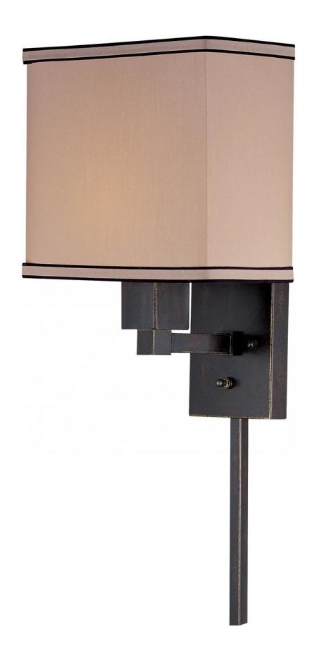 Lite Source Inc. Bronze Single Light Up Lighting Wall Sconce With Fabric Shade