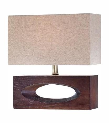 Lite Source Inc. Walnut Single Light Up Down Lighting Table Lamp With Linen Shade