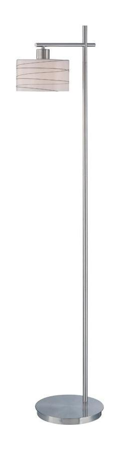 Lite Source Inc. Steel 1 Light Floor Lamp With Frost With Glazed Black Lines Glass