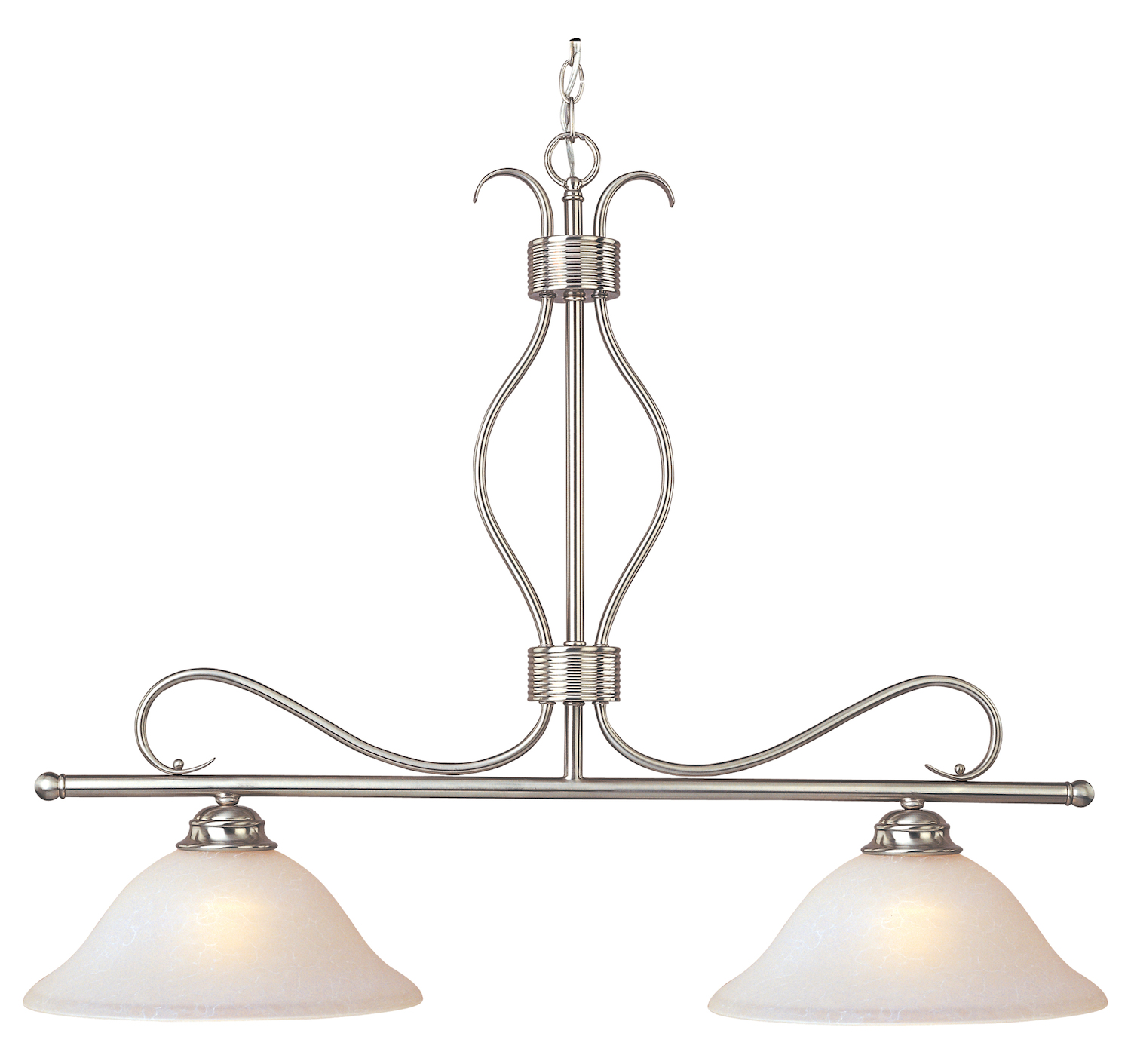 Maxim Two Light Satin Nickel Ice Glass Island Light