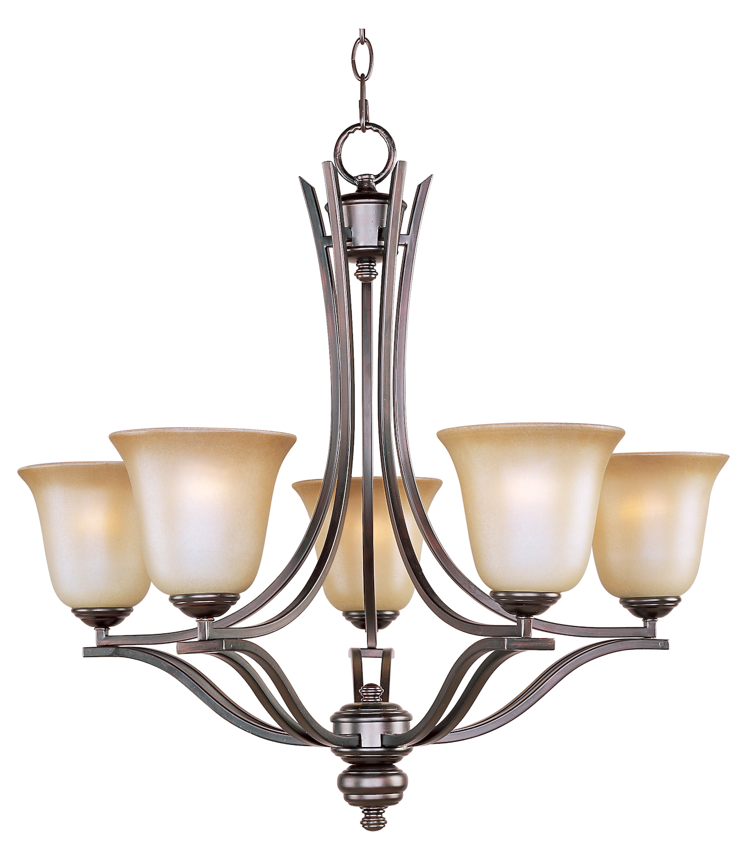 Maxim Five Light Oil Rubbed Bronze Wilshire Glass Up