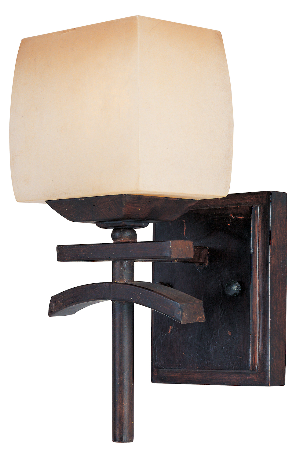 Maxim One Light Wilshire Glass Roasted Chestnut Wall Light