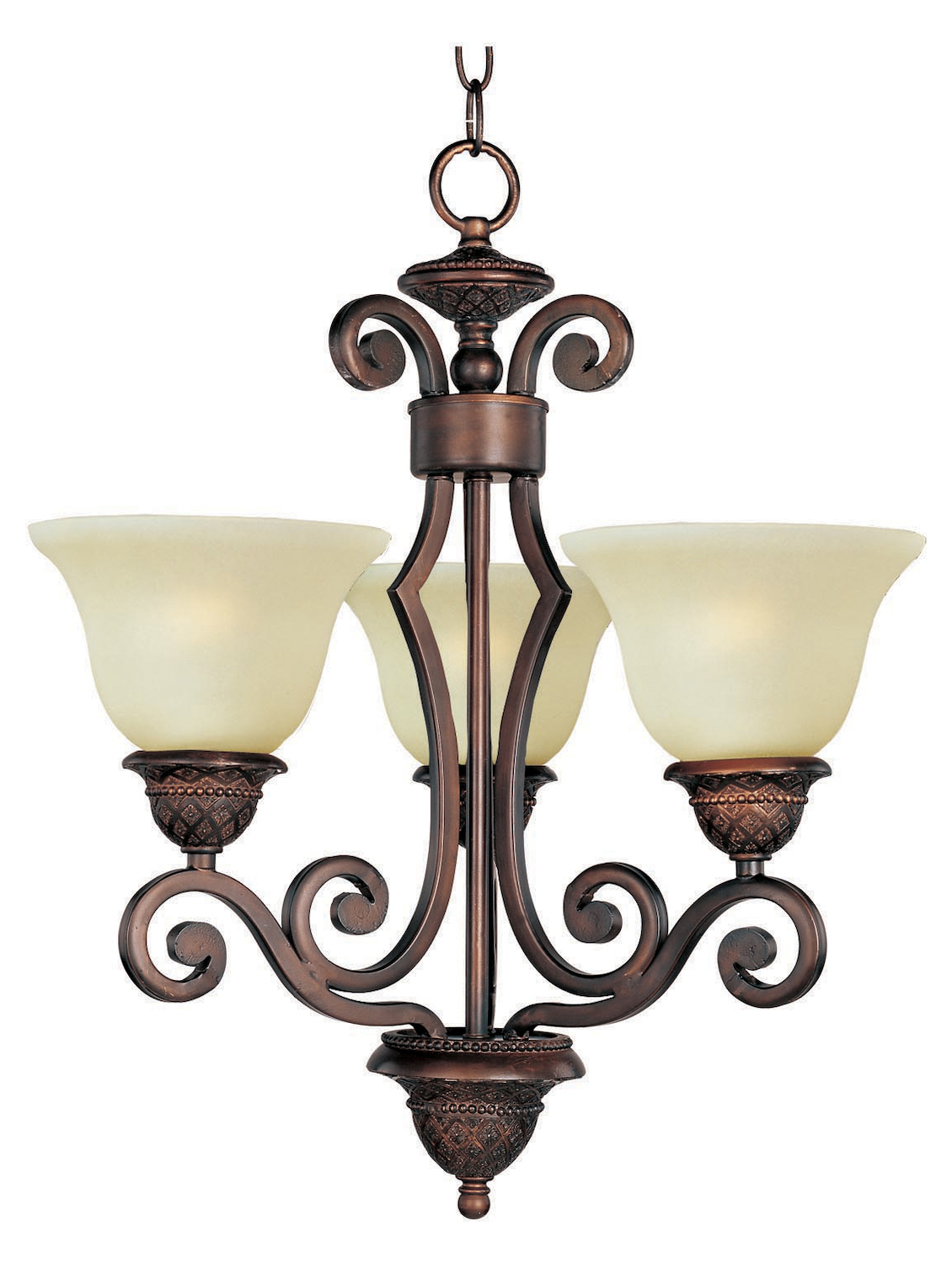 Maxim Three Light Oil Rubbed Bronze Soft Vanilla Glass Up Mini Chandelier