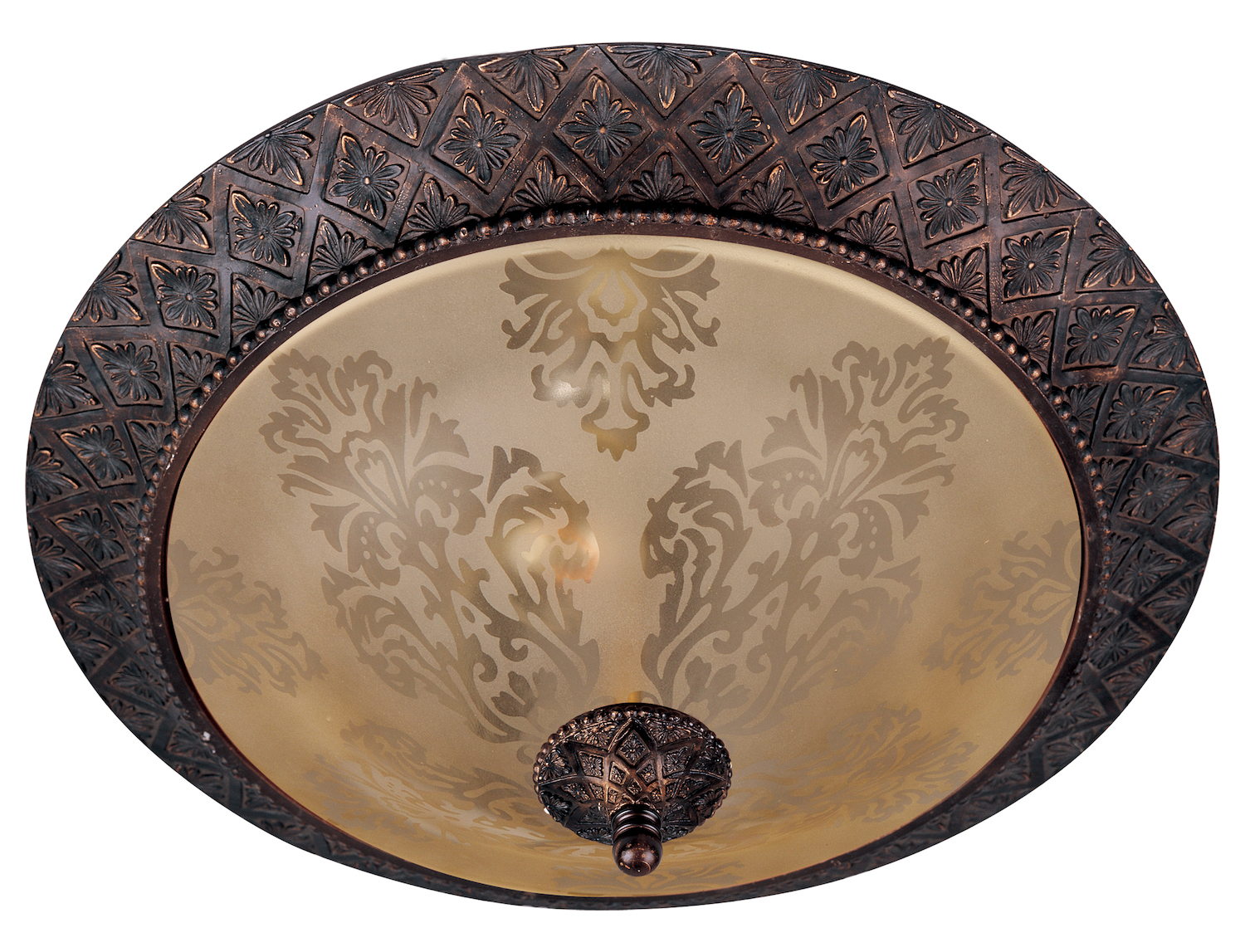 Maxim Two Light Oil Rubbed Bronze Screen Amber Glass Bowl Flush Mount